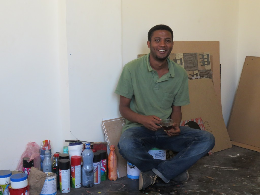 Ephrem Solomon in his studio