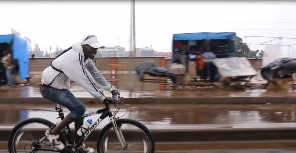 John Kamicha on his bike in Nairobi