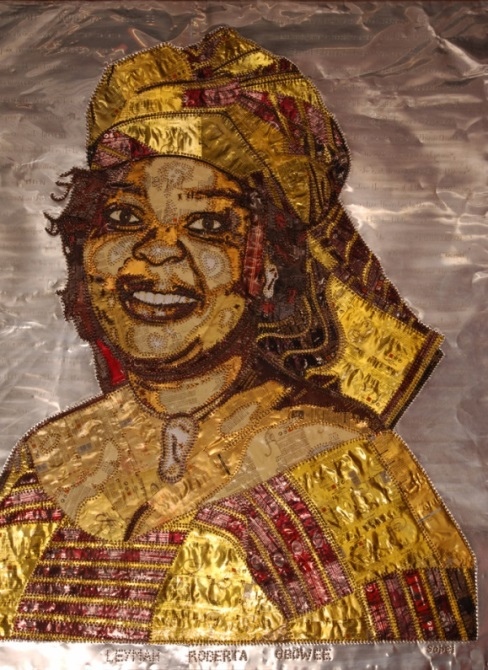 amary-sobel-diop-apologie-pour-la-paix-apology-for-peace-portrait-of-lemah-roberta-gbowee-aluminium-plates-taken-from-spray-deodorants-copper-wire-sewing-stitching-130-x